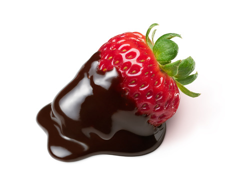 chocolate sweet: strawberry with chocolate dipping isolated on white Stock Photo