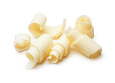 Gruppe weißer Schokolade Späne auf weißem Standard-Bild