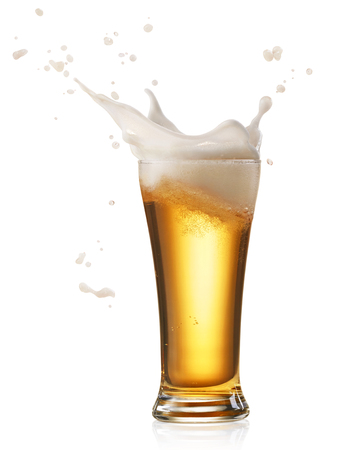 glass of splashing beer isolated on white Stok Fotoğraf - 48672180