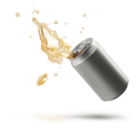 can of splashing beer isolated on white Standard-Bild