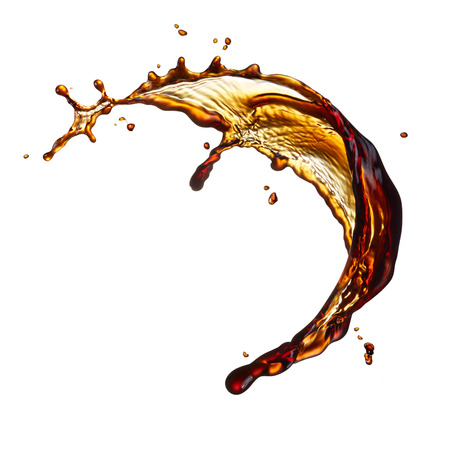 black coffee splash isolated on white background Banque d'images