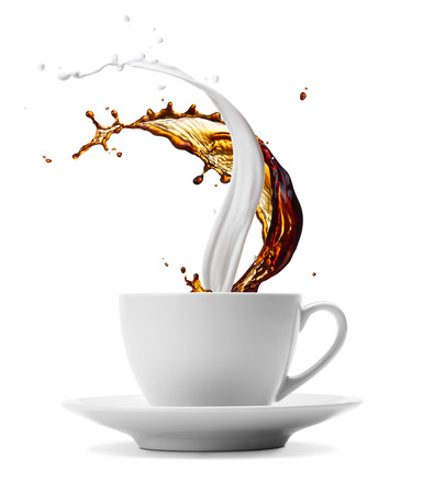 cup of coffee and milk splashes isolated on white