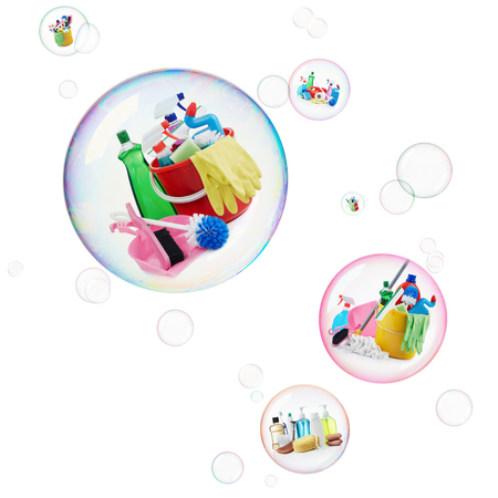articulos de baño: variedad de productos de limpieza y aseo dentro de las burbujas Foto de archivo