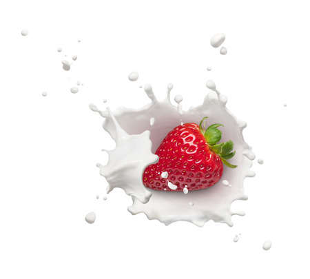 milk splash with strawberry from top view Stok Fotoğraf - 63375548