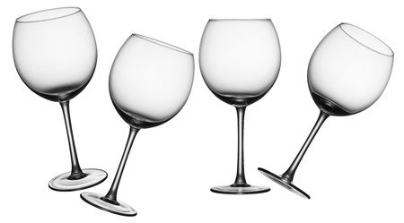 empty wine glasses in four different angles