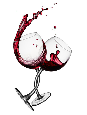 two glasses of red wine tangled around each other Stock Photo