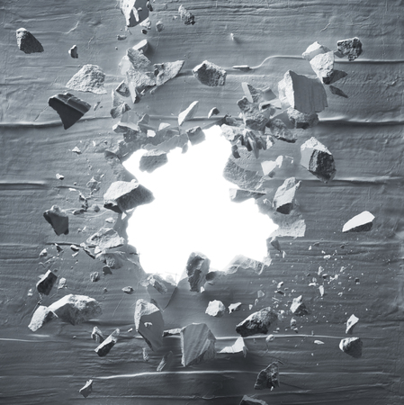 cracked wall with explosion hole and debris