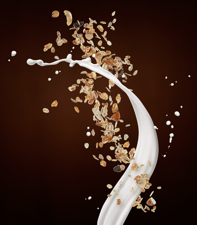 muesli with milk splash against brown background