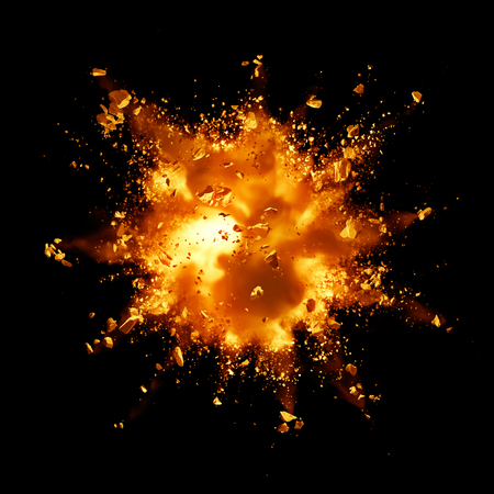 fire explosion with debris against black background