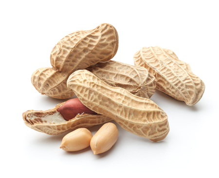 group of peeled, unpeeled and opened shell peanuts Stock Photo