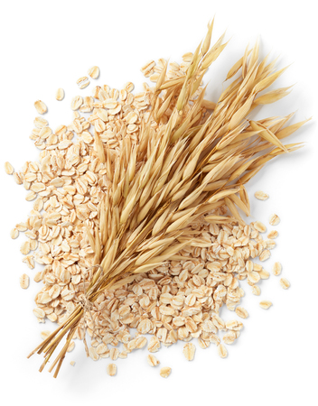 bundle of oat plant with oatmeal isolated on white