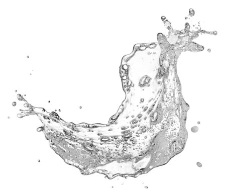 water containing soap and bubble splashing isolated on white Stockfoto