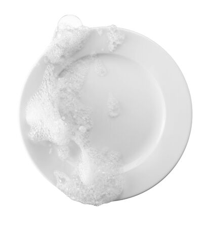 soap and bubble on plate representing dishwashing Stockfoto