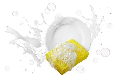 water containing soap splashing on plate with sponge