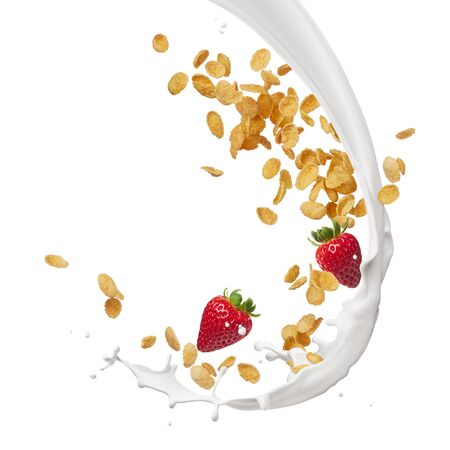 milk splash with corn flakes and strawberries Stockfoto