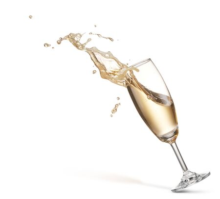 glass of champagne with splash isolated on white Stock Photo