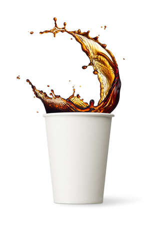 cup of coffee splashing against white background