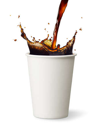 pouring coffee into paper cup causing splash