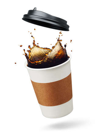 cup of coffee splashing with lid open Stock Photo