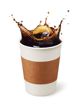 cup of coffee splashing isolated on white Stok Fotoğraf