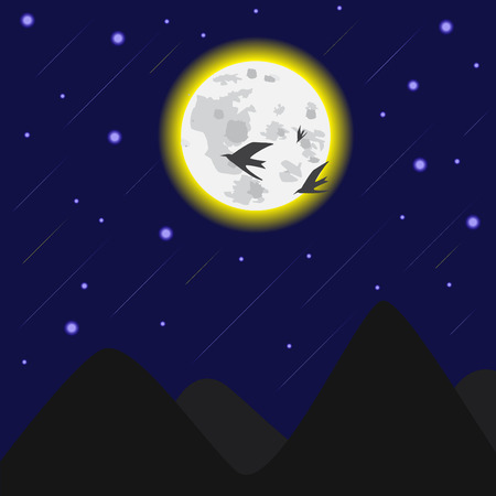 meteor: moonlight and meteor vector illustration Illustration