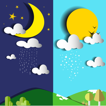 rainy sky: day and night or sun and moon vector illustration-flat design