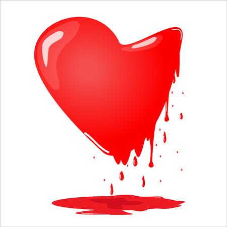 melting: melting red heart vector illustration