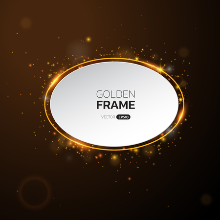 Golden frame with lights effects,Shining luxury banner