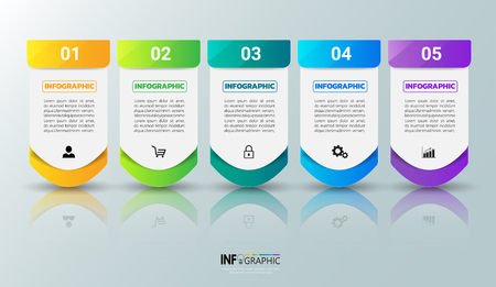 Plantilla de infografías de cinco pasos