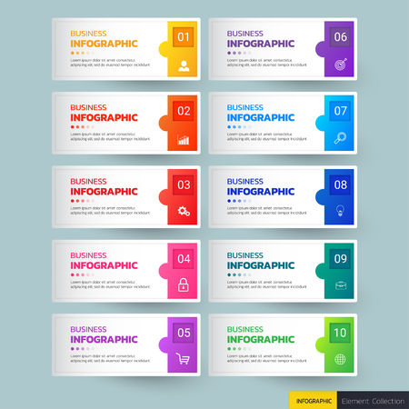 Plantilla de infografías de diez pasos
