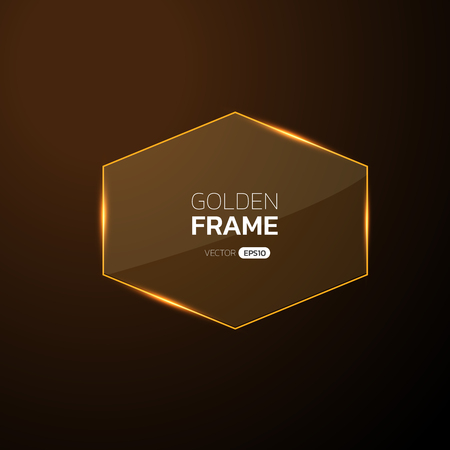 Golden frame with lights effects,
