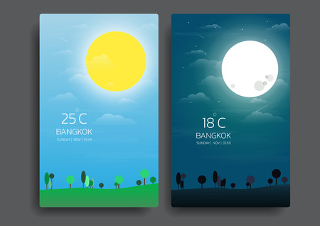 day and night landscape in flat style