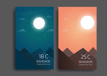 day and night landscape illustration with sun,moon,hills,star,clouds,weather app,user interface design Vektorové ilustrace