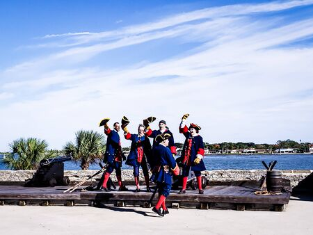 Saint Augustine, Florida, The United State - Nov 3, 2018 : The soldiers in traditional Spanish Clothes show to shooting cannon at the Castillo San Marcos is one of the oldest America cities.