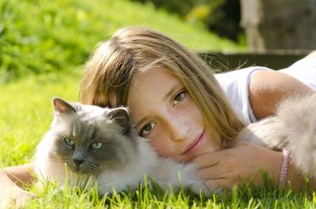 Portrait of a girl with a cat Reklamní fotografie