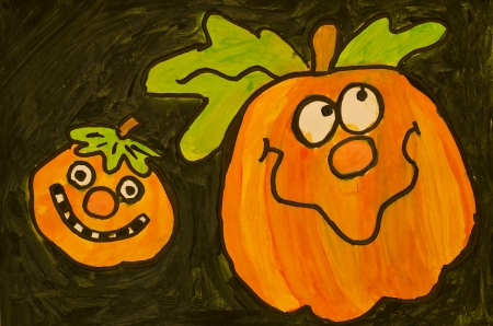 Two happy pumpkin Stock Photo - 15503303