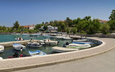 krk: Boats in seaport of Silo village, island Krk, Croatia Stock Photo
