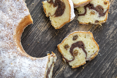 Close up photo of fresh homemade marble cakes