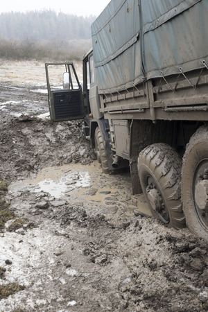 Truck got stuck in the muddy road Reklamní fotografie