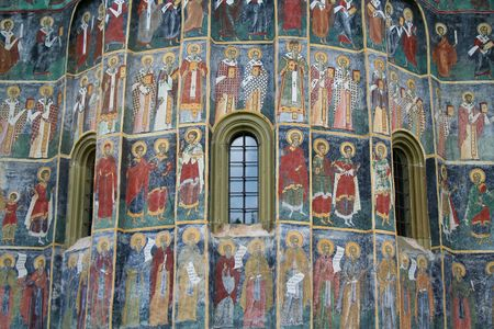 Fresco wall at Sucevita Monastery in Romania.