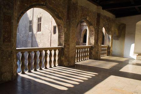 castello medievale: Castello medioevale interni balcone Archivio Fotografico