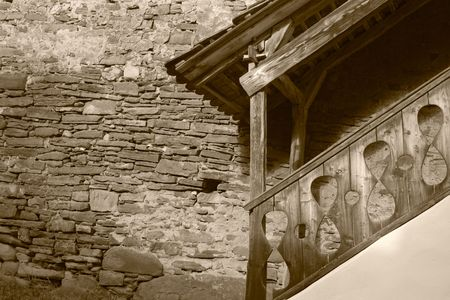 fortified: Wood stairway at a fortified church in Romania. Stock Photo