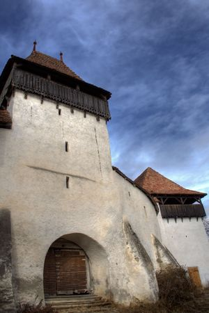 fortified: Fortified church tower and entrance gate Stock Photo