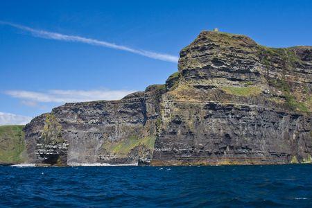 Cliffs of Moher seen from the Atlantic Ocean, in Ireland. photo