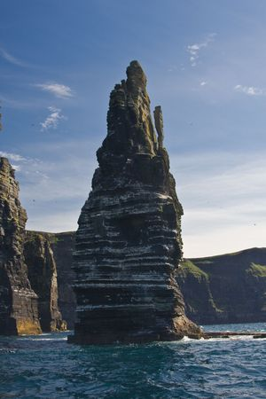 Stack at the Cliffs of Moher in Ireland. photo