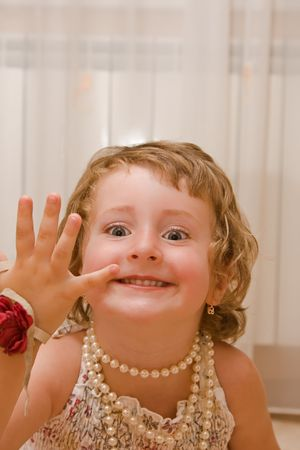 Young  girl counting to four. Stock Photo - 3490900