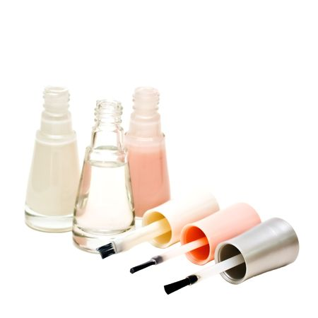 fangle: French manicure set of nail polish isolated on white. Stock Photo