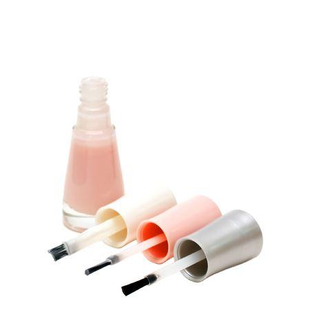 fangle: French manicure set of nail polish isolated on white. Stock Photo