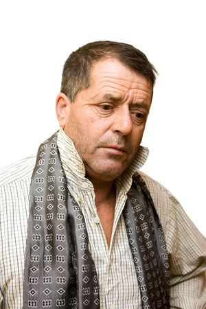 Middle aged man portrait isolated on white.