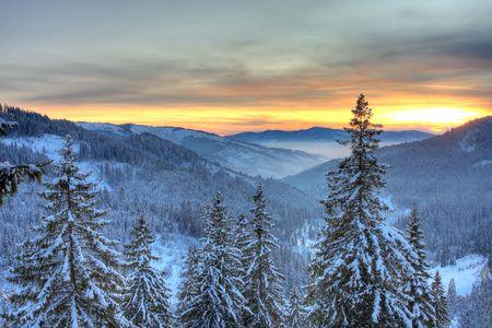 Winter landscape in Carpathian mountains, Romania. photo